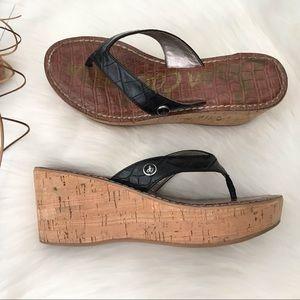 Sam Edelman Romy Black Cork Wedge Sandals Size 7